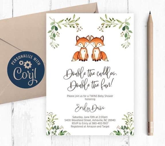 foxies double trouble shower invites