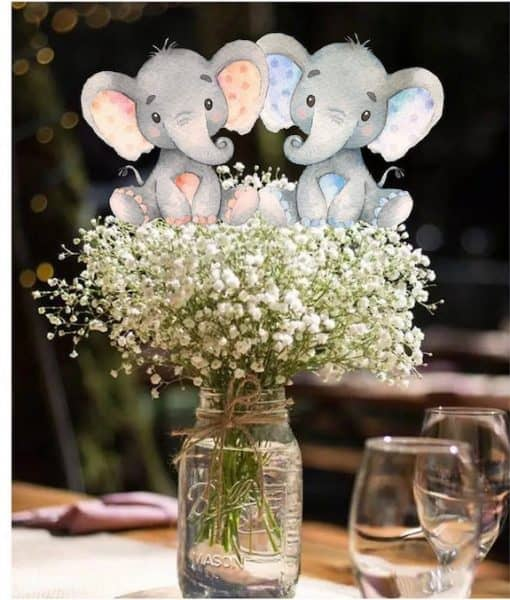 twin elephant baby shower decorations