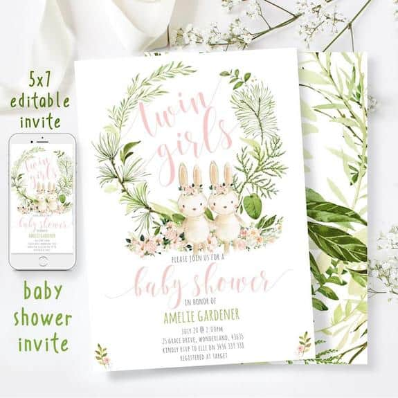 invitations for twin girls baby shower
