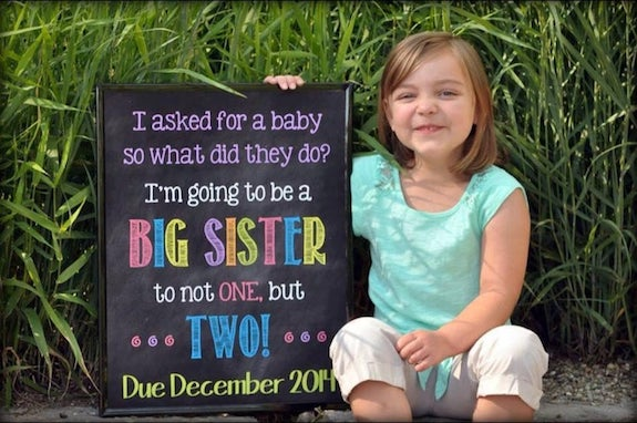 twin announcement with older sibling