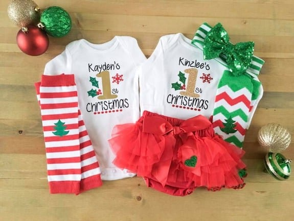 twin first christmas outfit