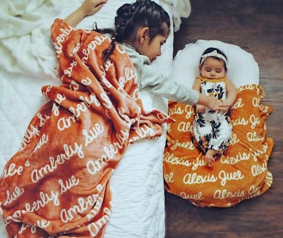 personalized blanket non toy gift idea for twin toddlers