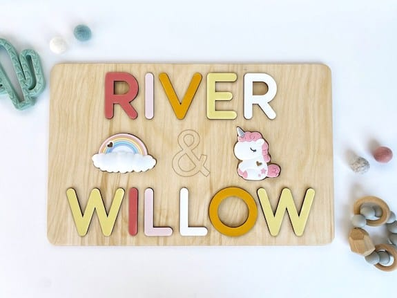 twin baby puzzle gift